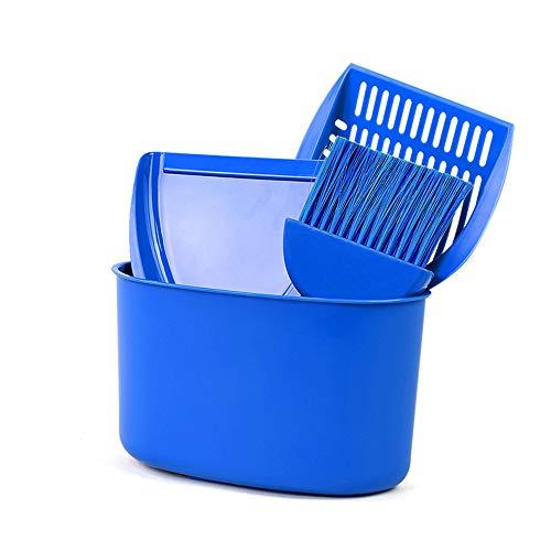 FZQ Katzenstreu Schaufel Vierteiliges Reinigungsset PP Harz Material Lagerung Eimer Sand Schaufel Haarbürste Multifunktionale Katzenklo Blau -