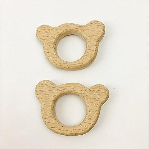 2pcs Mordedor de madera animal de madera en forma de juguetes para la dentición de suspensión realizada en madera de haya colgantes del encanto del bebé Teether Juguetes de bricolaje