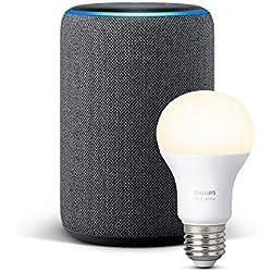Echo Plus (2ème génération), Tissu anthracite + Ampoule connectée Philips Hue