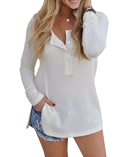 Maglie a manica lunga Donna Bluse in maglia Girocollo con bottoni Maglione Larghi Pullover Camicie Maglioni Jumper Shirts Top Bianco