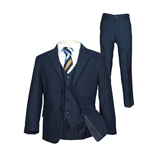 SIRRI Italian Schnitt Jungen-marineblau Anzug, Seite Junge Hochzeit Ball Kommunion Jungen Anzug - Marineblau 5 Teile, 104