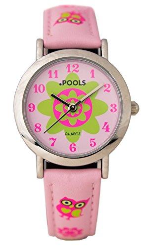 Baciami-POOLS-5051-Kinder-und-Jugen-Armbanduhr-Lederband-Pink-mit-Eulen-Analog