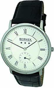 Bernex Swiss Made Gents Slim Stainless Steel, Silver Dial Mechanical Wrist Watch leather strap