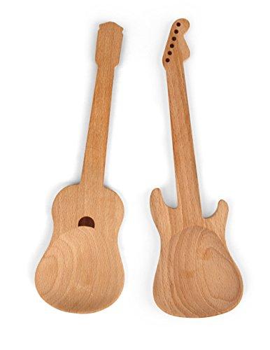 Kikkerland guitar utensils posate per insalata, legno, 33x11x1 cm, 2 unità