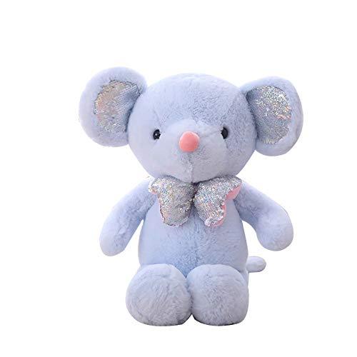 OVINEE Kawaii Maus Pailletten Plüschtier weiches süßes Spielzeug Kuscheltier Kinder Junge Mädchen Spielzeug 13,8 Zoll - Geschenk; Dekoration (Blau) -