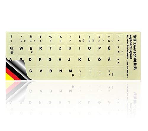 LEDELI Tastaturaufkleber nachtleuchtend Fluoreszierende Tastatur Aufkleber Keyboard Sticker Tastatur-Aufkleber leuchtet phosphoreszierend LED Ersatz (Deutsch QWERTZ Leuchtend)