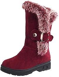 MYMYG Botas de Nieve para Mujer Zapatos Invierno Botas Altas de Rodilla Mujer Bota de tacón Plano Zapatos de…