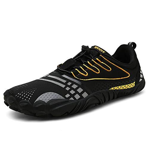 FOGOIN Barfußschuhe Fitnessschuhe Herren Damen Laufschuhe Trekking Schuhe Traillaufschuhe rutschfeste Schnell Trocknend Sportschuhe Gr43 Schwarz