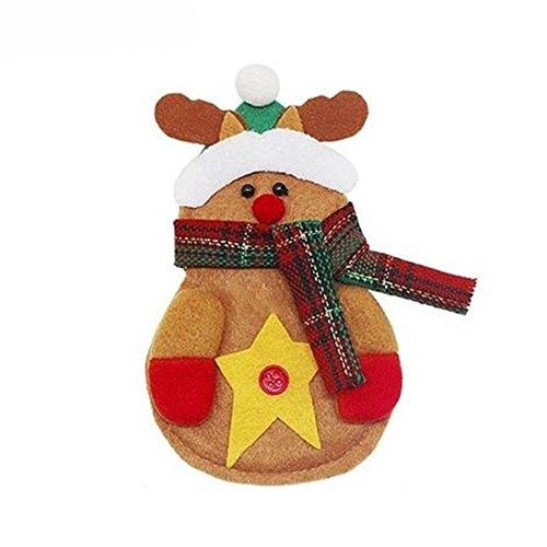 gloryhonor Santa Claus Muster Besteck Halter Utensilientasche Gabel Messertasche Weihnachts Dekoration 14cm x 10cm/5.51