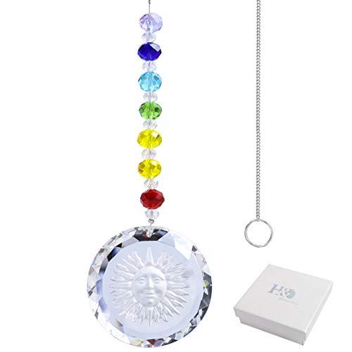 H & D araña de Cristal Adornos para Colgar, Piedras, Forma de prismas, Efecto de Arco Iris, Sol atrapasueños con Perlas para decoración