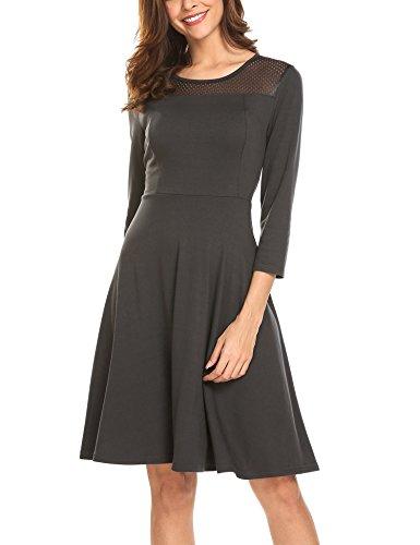 Beyove Damen Skaterkleid 3/4 Ärmel Strickkleid Jersey Kleid Freizeitkleid Knielang Grau M 3-piece Kleid Outfit
