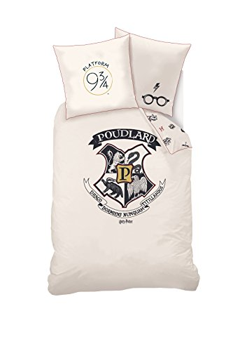 Sahinler Bettwäsche Harry Potter Bettbezug und Kissenbezug, Baumwolle, Ecru, 140x 200cm
