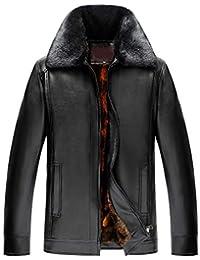 136e54bdb15a Manteau en Similicuir pour Veste en Cuir à col Montant zippé pour Homme  Hiver Col en Fourrure Détachable Veste…
