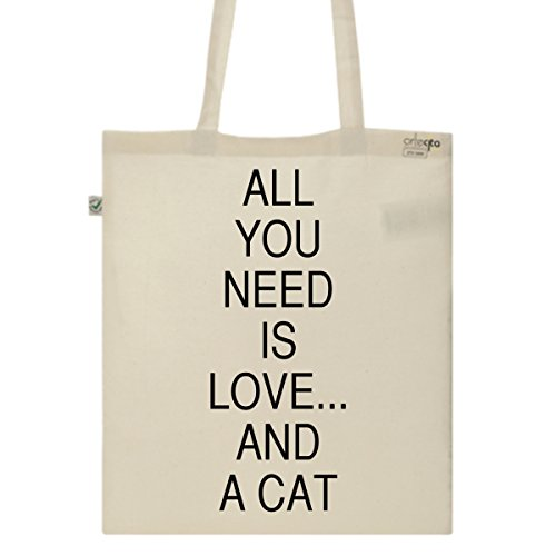 Tote Bag Imprimé Ecru - Toile en coton bio - Love and a cat