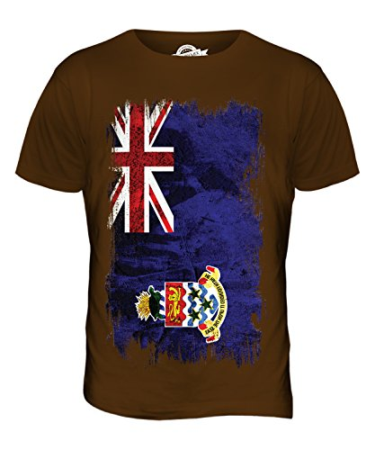 CandyMix Cayman Islands Grunge Flagge Herren T Shirt, Größe 2X-Large, Farbe Braun (Chocolate Cayman)