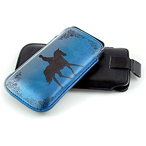 Jockey 10005, Fantino, Nero Universal Eco Leather Holster Sleeve Slide In Pouch with Colorful Design and Pull Tab Strap Compatible for Huawei Honor 7 Honor 5X Ascend P8 P8 Lite Honor 3X