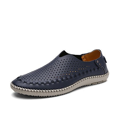 Coojoy Herren Loafers Leder Mokassins Slip On Slipper Bootsschuhe Herrenmode Schuhe Blau Loch EU43 -