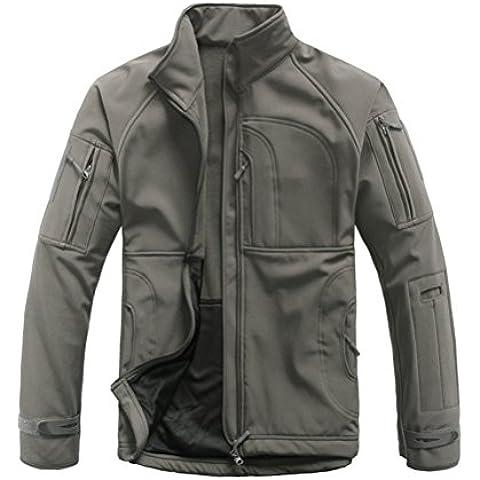 Uomo Lanbaosi stand collare militare Caccia Camouflage Softshell Jacket