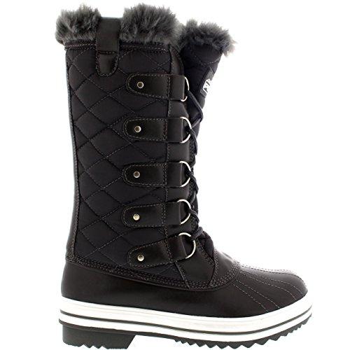 Damen Schnee Stiefel Nylon Tall Wasserdicht Gefüttert Regen Stiefel Grau