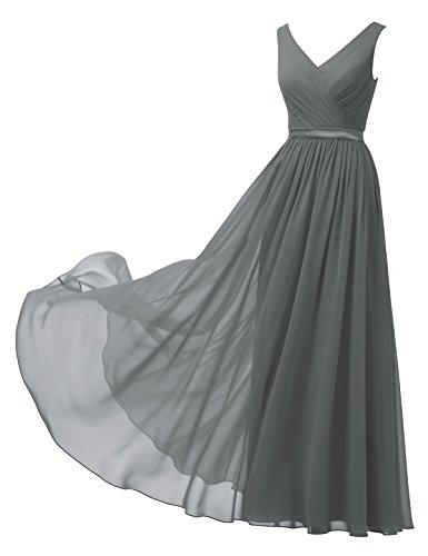 Alicepub A-Linie Chiffon Brautjungfernkleider Abendkleider Lang Ärmellos Ballkleider, Stahlgrau, 48 (Satin Kleid Brautjungfer Knie-länge)