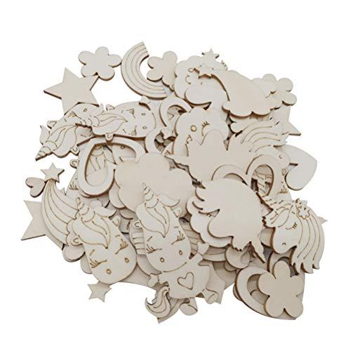 Amosfun Holzscheiben Holz Ausschnitte Einhorn Wolke Stern Blume Form DIY Natur Holz Scheibe Zum Basteln Bemalen 30 Stücke (6.5-1.5 cm zufällige Muster)