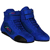 PM Sports New Kids Junior Karting Boots Race Rally Track Boots with Suede & Mesh Racewear (Blue, UK 2 / EU 34)