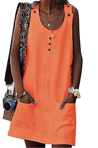 Yieune Sommerkleid Damen Sexy Ärmellos Rundhals Knielang Party Kleid Strandkleid (Orange XL)