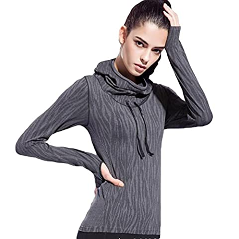 Sentao T-Shirt Sport Femme Manches Longues Running Fitness Pullover Capuche Pour Yoga Fitness