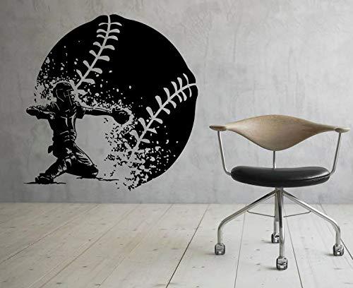 yiyiyaya Wandaufkleber Baseball Sports Player Dekoration Vinyl Kunst PVC Wand Poster Jungen Design Zimmer Wandbild Abnehmbare 42X43 cm