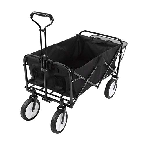 Estink Faltbarer Bollerwagen, Handwagen Gartenwagen Transportwagen Kippwagen, herausnehmbare 600D Oxford Stoff, bis 70kg belastbar, für den Garten Camping und Shopping