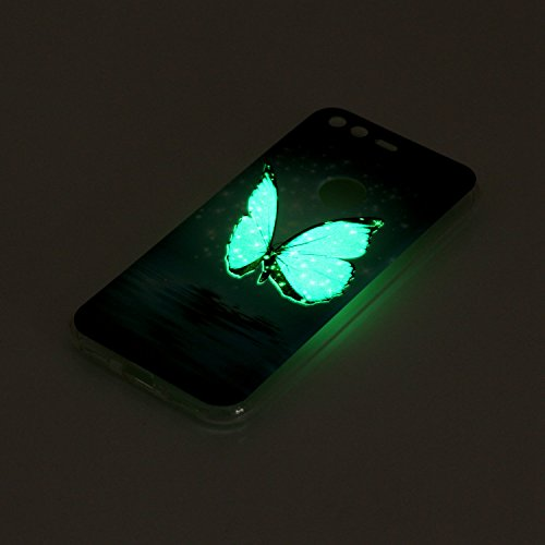 Coque pour Google Pixel, Etui pour Google Pixel, Coque Lumineux pour Google Pixel, Cozy Hut Ultra Mince Souple TPU Silicone Etui Housse de Protection Nuit Luminous Glow Series Transparente Silicone Ca Papillon de mer