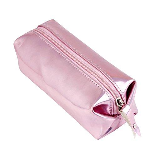 Cajas de Maquillaje,VENMO Moda del Holograma Lápiz Lápiz Caso Soporte Cremallera Comestic Bolsa (Color de rosa)