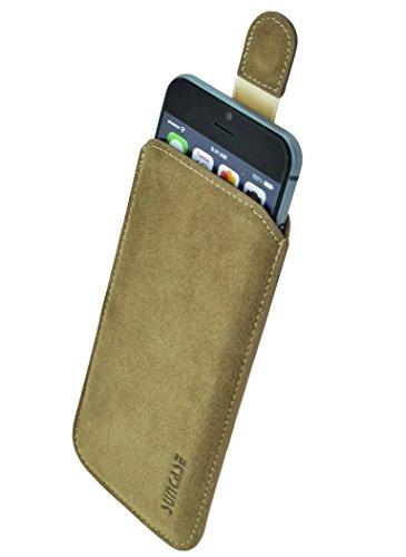 Original Suncase Tasche für iPhone 7 PLUS / iPhone 6s PLUS / iPhone 6 PLUS (5.5 Zoll) Super Slim Leder Etui Handytasche Ledertasche Schutzhülle Case Hülle (Lasche mit Rückzugfunktion) schwarz-veloursl camel - veloursleder