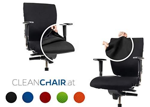 CLEANCHAIR Set Large: Bürostuhl 2er Überzugsset für die SITZFLÄCHE und RÜCKENLEHNE - Schwarz