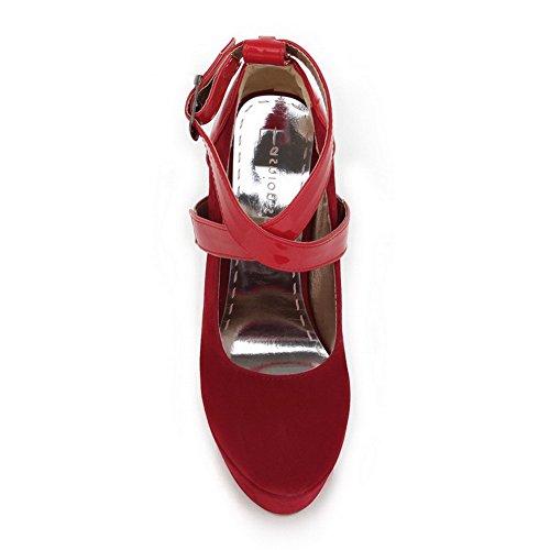 AgooLar Femme Matière Souple Rond à Talon Haut Boucle Couleur Unie Chaussures Légeres Rouge