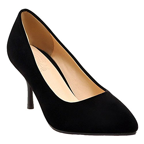 Mee Shoes Damen Stiletto Nubukleder runde Pumps Schwarz