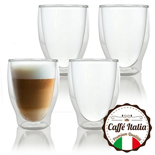 Caffé Italia Milano 4 x 250 ml Doppelwand-Thermo-Gläser - für Latte Macchiato Tee Heiß- und...