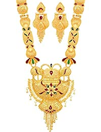 592f6b88a Mansiyaorange One Gram Gold Forming Work Long Haram Pendant Multi Color  Golden Jewellery Necklace Juelry Pendant Set…