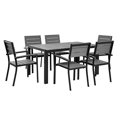 Beliani Modernes Gartenmöbel Set in Grau Tisch und 6 Stühle Aluminium Kunstholz Como (Como Stuhl)