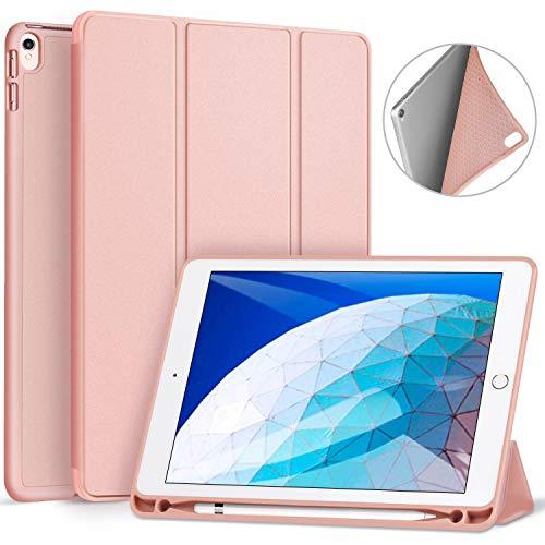 Ztotop Hülle für iPad Air 3 10,5 2019 & iPad Pro 10,5 Zoll 2017 Superleicht Soft TPU Rückseite Abdeckung Schutzhülle mit eingebautem ipad Pencil Halter, mit Auto Schlafen / Wachen, Roségold
