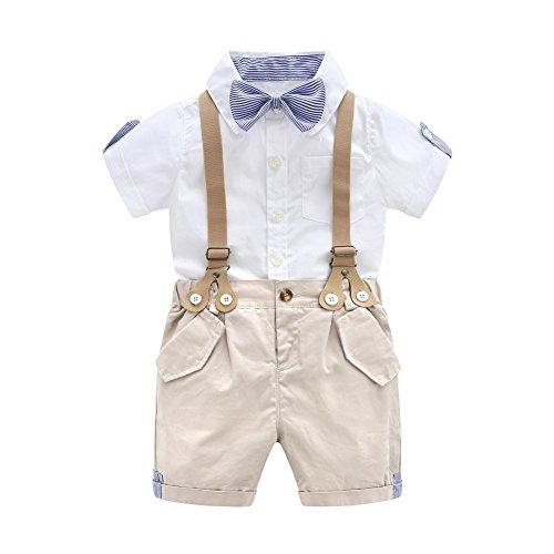 Baby Jungen Smoking Strampler Gentleman Sommer Kleidung Anzug Kurz Fliege Jumpsuit Outfit mit Abnehmbare Hosenträger (90cm)