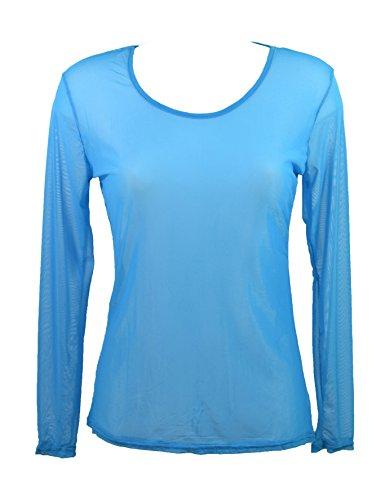 Miss rouge: T-shirt, Haut en voile transparente (Turquoise)