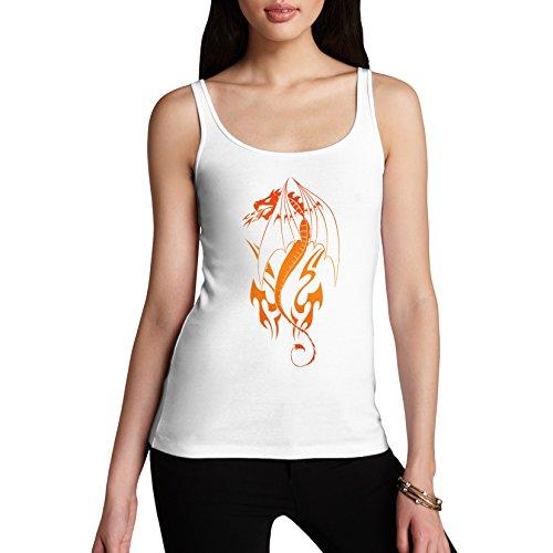 Femme Coton Motif tatouage Design Tribal/Dragon Débardeur imprimé Blanc - Blanc
