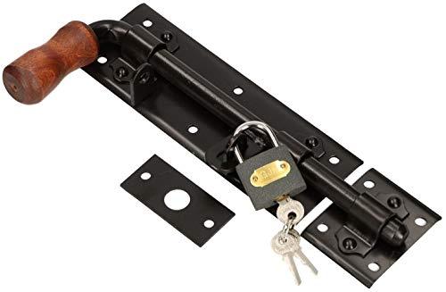 KOTARBAU Torriegel 280mm Links mit Vorhängeschloss Türriegel Bolzenriegel Schlossriegel Schubriegel Pulverbeschichtet Riegelverschluss Torverschluss