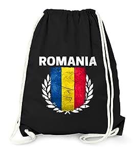 Turnbeutel – Fußball EM 2016 Rumänien Romania Flagge Vintage – Gym Bag Moonworks® schwarz unisize