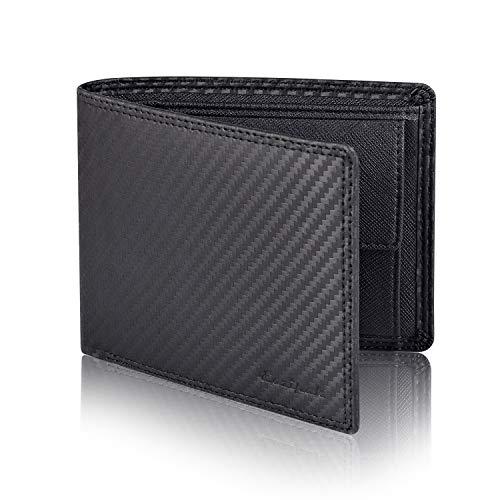 Eazipak Portmonee Herren Echt Leder - Geldbeutel Männer mit 11 Kartenfächer - Querformat Portemonnaie mit Münzfach und RFID Schutz Geschenkbox (Schwarz/Braun) - Mikrofaser-wallet-karte