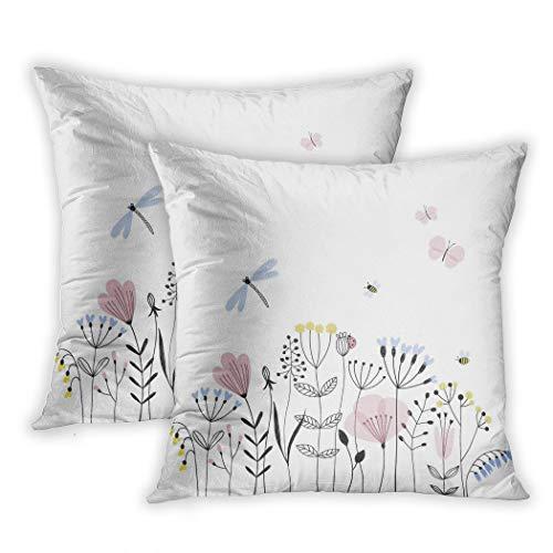Nekkzi Cushion Covers Set of Two Print Colorful Dragonfly Summer Flower Field Garden Scandinavian Butterfly Blossom Sofa Home Decorative Throw Pillow Cover 18x18 Inch Pillowcase Hidden Zipper -