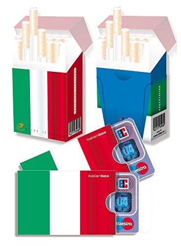 EM-SET Motiv: ITALIEN - 2x cardbox (Kartenhülle, Ausweishülle, Führerscheinhülle) UND 2x indo slipp (Hülle für Zigarettenschachteln) im SET (SLIPP einmal Motiv: Flagge, einmal Motiv: Azzurri-Trikot)
