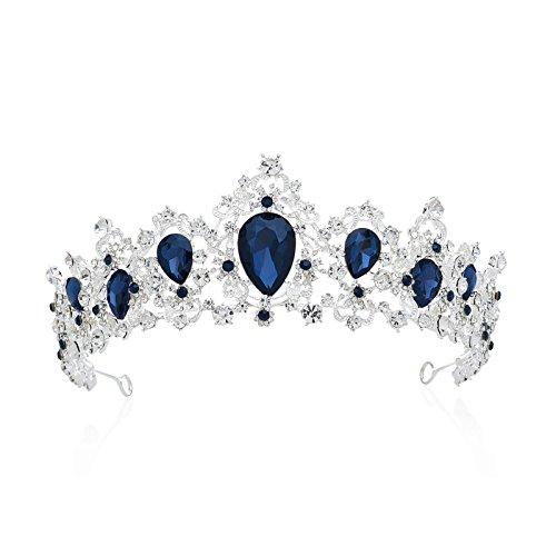 SWEETV Luxus Prinzessin Diadem Hochzeit Krone Braut Tiara mit Kristalle für Festzug Prom, Silber+Blau