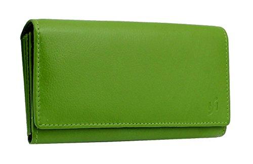 StarHide® Damen Luxus Weiche Echte Nappaleder Lange Klappe über Die Geldbörse Mehrere Kreditkarten Geldbörse Mit 2 Inneren Reißverschluss Tasche Geschenkbox #5510 (Grün) (Klappe Über Messenger)